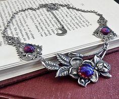 Dragon's Breath, Silver Floral Victorian Gothic Necklace