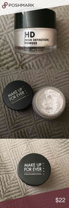 Makeup Forever Loose HD Powder 10g/0.35oz size Make Up For Ever HD loose powder. (NOT the travel size, which is 0.035oz!) I'd say it's 85% full. This powder is transparent/totally colorless, and suitable for all skin tones and types. Great accompaniment to the cult favorite HD foundation. *This is not the new HD powder they just released; you actually get MORE product with this size* Makeup Forever Makeup Face Powder