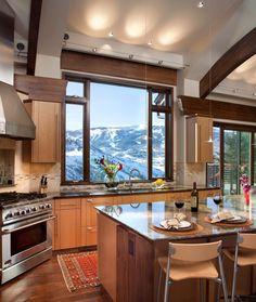 Mountain view windows kitchen contemporary with pendant light dark wood window trim pendant light