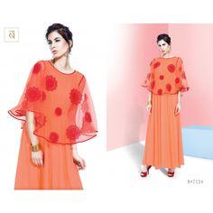 Stri Designer Embroidery Orange Maxi Dresses - Western Wear - Women - Fashion