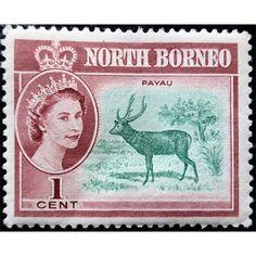 North Borneo, QE II, Deer, 1 cent, mint hinged