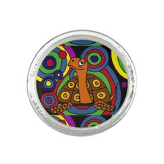 Funny Turtle Art Abstract Ring #turtles #art #animals #rings #jewelry And www.zazzle.com/inspirationrocks*