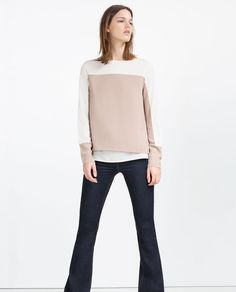 Image 1 of TWO-TONE CONTRASTING TOP from Zara