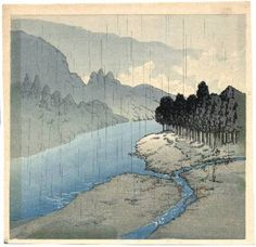Image result for Japanese paintings of rainclouds  on Fuji No Yama