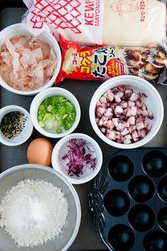 Ingredients for Takoyaki |  via Zen Can Cook