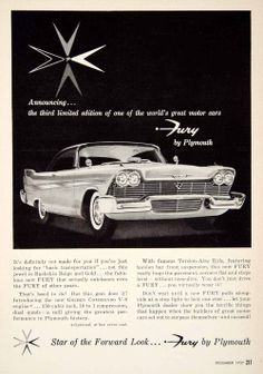 1957 ad for 1958 Plymouth Fury 2-door hardtop coupe in Buckskin beige and gold #plymouth