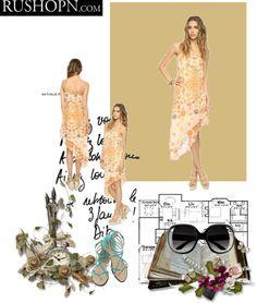 """""""Women Orange Chiffon Dress"""" by profireli ❤ liked on Polyvore"""