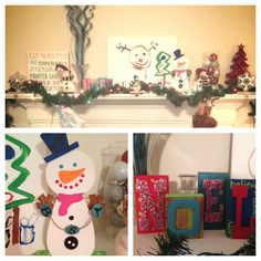 My Christmas mantle! Centerpiece is drawing my 5yr old painted, we also painted the snowman and Noel to our liking. Blue and silver branches in a vase I already had(all materials came from Hobby Lobby) found a vase at Goodwill and filled w $1 store balls. Greenery wrapped w lights and sticking hung w care- loved it!