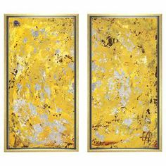 """Framed canvas giclee-print diptych with an abstract motif. Made in the USA.  Product: Set of 2 giclee printsConstruction Material: Fine art canvas and woodColor: Gold frameFeatures:  Made in the USAArrives ready to hang with all hardware includedDimensions: 19"""" H x 10"""" W each"""