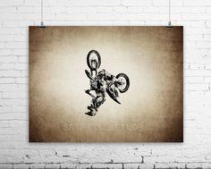 Freestyle Motocross Backflip on Vintage, Wall #art #photography @EtsyMktgTool http://etsy.me/2ixLthC