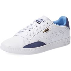 Puma Match Low Top Sneaker ($45) ❤ liked on Polyvore featuring shoes, sneakers, blue, leather shoes, leather trainers, rubber sole shoes, leather lace up sneakers and low tops