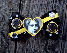 Kurt Cobain Nirvana Hair Bow smiley face logo by MirroredOpposites, $5.00