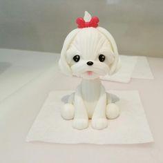 Maltese puppy cake topper