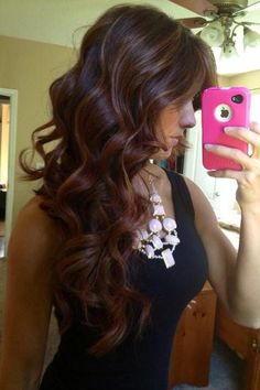 Red brown ombré with highlights.