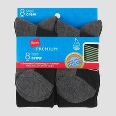 Boys' Hanes Premium Athletic Socks 8 Pk - Black S, Boy's