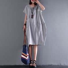 2017 new gray linen dress plus size sundress cotton summer dressesThis unique deisgn deserves the best quality texture. The fabric of this article is soft, comfortable and breathy.Flattering cut. Makes you look slimmer and matches easlily with jeans, leggings stylish pants or skirts.Measurement: Size 4XL/BUST-120cm length 97cm / 37.83