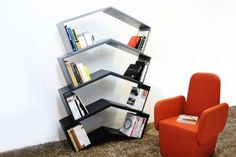 Angle-Mirrored Bookcases : Lean Book Shelf
