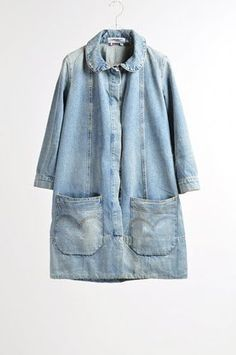 Pale indigo denim   Chore coat   Duster   Workwear   Jeans   big pockets   Charles Anastase.