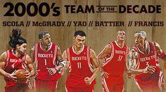 Houston Rockets 2000s Team of the Decade: Luis Scola, Tracy McGrady, Yao Ming, Shane Battier & Steve Francis.