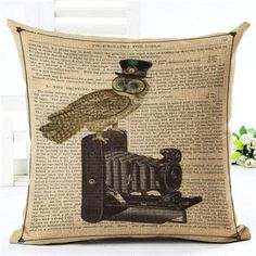 New Arrival Throw Pillow Cushion Home Decor Couch Newspaper With Owl Printed Linen Cuscino Square Cojines Almohadas Rustic Decorative Pillows, Decorative Pillow Cases, Dog Pillow Bed, Throw Pillow, Gothic, Victorian Steampunk, Living Room Decor Pillows, Table Vintage, Pillow Cover Design