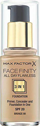 Max Factor Face-Finity All Day Flawless 3 In 1 SPF 20 Foundation Makeup for Women, No. 80 Bronze, 1 Ounce #flawlessmakeup