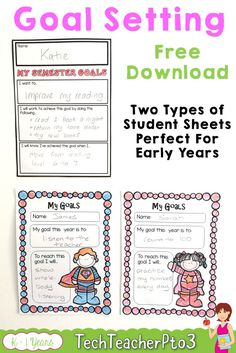 Help young students with basic goal setting with this free download. Inside you will find large bulletin board letters that say GOALS that you can use to create a fantastic wall display in your classroom. There are also two types of student goals sheets; semester specific goals and overall goals for the year. I've found early years students need one simple goal to focus on early in the year and these sheets work as visual reminders to keep students on track. #goalsetting #teacherspayteachers