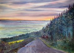 "This is my painting of Garrowby Hill. It was originally entitled ""Homeward Bound"" when we lived in York because it was on the way home from our Gallery in Bridlington but now we live in Bridlington! The Way Home, Affordable Art, Watercolor, Mountains, Gallery, Painting, Travel, York, Beautiful"
