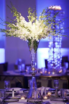 Centerpieces Lighting White Blue tall crystal