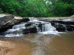 Horseshoe falls at Musgrove Mill State Historic Site near Clinton, SC