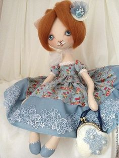 Кукла кошечка мисс Кэти - рыжий,серо-голубой,кошечка текстильная,кошка
