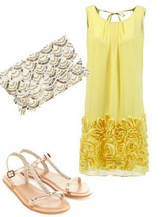 """Although you can never guarantee a sunny wedding *curses rain*, you can bring your own with this buttercup yellow Bielle Posy dress with ruffled hem. Yellow works really well with gold, so pair with a sequined clutch and some pretty sandals for when you're ready to hit the dance floor.<br /><br />Dress, £86, <a href=""""http://bielle.co.uk/index.php/shop/posy-dress/"""">Bielle<br /></a>Clutch, £19.99, <a…"""