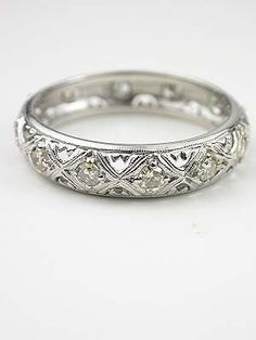 Vintage Filigree Wedding Ring Geometric Pattern With Off White Yellow Tinted Stones