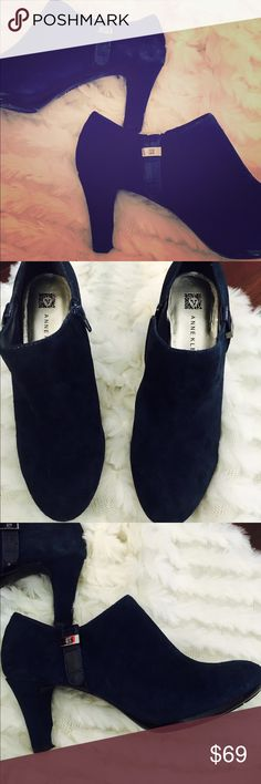 Ann Klein Navy Suede Booties Suede booties, so cute and adorable! Anne Klein Shoes Ankle Boots & Booties