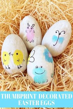 Inspired by Ed Emberley's thumbprint art making books, these Easter thumbprint character eggs are fun for kids to make.