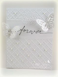 Embossage en 2 parties distinctes + 1 découpe pretty white on white wedding card.especially like how the embossed background leaves space for the message and has small pearls on some of the crossing points of the grid. Wedding Cards Handmade, Greeting Cards Handmade, Pretty Cards, Love Cards, Wedding Shower Cards, Wedding Card Messages, Card Wedding, Wedding Anniversary Cards, Happy Anniversary
