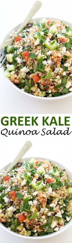 You Have Meals Poisoning More Normally Than You're Thinking That 30 Minute Greek Kale Quinoa Salad Loaded With Tons Of Vegetables And Tossed With Lemon And Olive Oil Healthy Salads, Healthy Eating, Healthy Recipes With Quinoa, Recipes With Kale, Healthy Greek Recipes, Summer Vegetarian Recipes, Healthy Food, Vegetarian Bake, Quinoa Salad Recipes