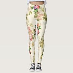 floral long leggings white teenager