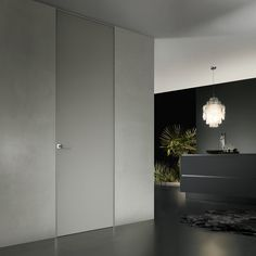 #Rimadesio. Interior co-planar door with glass finishing and invisible magnetic lock.
