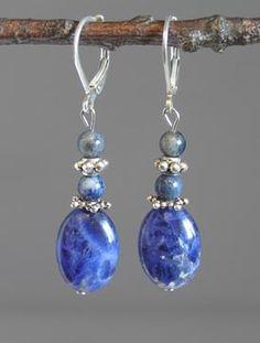 Sterling Silver Lentil Earrings Sodalite