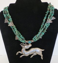 Nepal 925 Sterling Silver Spotted Deer Tibetan Turquoise Necklace Estate Jewelry #EthnicHandWrought