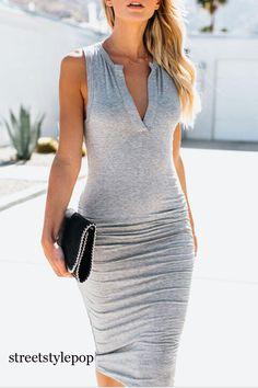 Women Dress Sleeveless Solid Color Split Slim Fit Deep V Neck Maxi Long Dresses