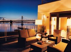 Room 808 at the Hotel Vitale has views of the Bay Bridge, which has linked Oakland and San Francisco since 1936.