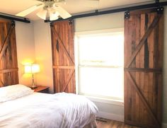 When our master bedroom needed window treatments, my husband made barn door window shutters that fit all my small space needs. Patio Blinds, Diy Blinds, Curtains With Blinds, Blinds For Windows, Windows And Doors, Window Shutters, Shutter Blinds, Privacy Blinds, Fabric Blinds