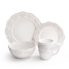 Enjoy the classic look and inviting style of this Bianca 16-piece dinnerware set. With scalloped edges and shell-patterned boarders, this charming dinner set is finished in rustic white for the perfect daily dishware to adorn your table.