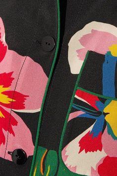 Valentino - Printed Silk Crepe De Chine Shirt Dress - Black - IT48