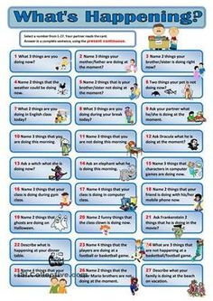 More practice to reinforce the correct usage of present continuous. To be played with partners. Choose a number and then answer in the present continuous tense in complete sentences. - ESL worksheets