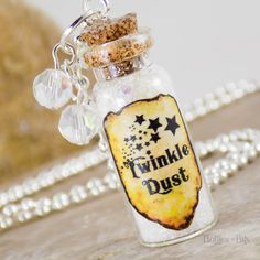 Twinkle Fairy Dust Necklace Bottle charm Glass vial Jewelry Glass Vial Pendant Twinkle Star Keychain Glass Bottle Necklace White Dust Vial