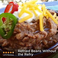 "Refried Beans Without the Refry | ""My father-in-law is from Mexico and taught me how to make refried beans 40 yrs ago and my family loved them, but I tried this recipe and they thought these were the best they've ever eaten (and we eat them about 4 times a week). The only thing different I did was add a piece of meat while cooking it really adds that little extra flavor. Love these beans!!!!"""