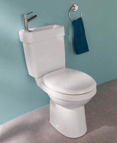 Collection espace toilettes WC solutions gain de place – modèle Alliance  Optimisez votre consommation d'eau en installant cet étonnant WC à poser, surmonté d'un lave-mains Alliance. L'eau issue de la vasque alimente la cuvette du WC équipé d'une sécurité anti-débordement.