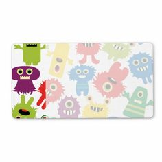 Cute Funny Colorful Monsters Pattern Custom Shipping Label SOLD on Zazzle